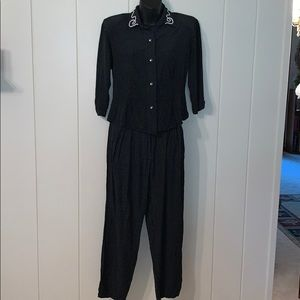 Vtg 80s does 40s black  polka dots  2 pc outfit
